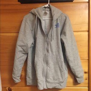 [The North Face] gray hooded sweatshirt XL jacket